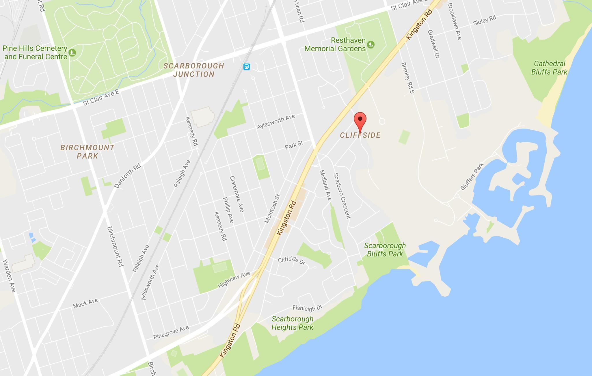 Cliffside Kvarter Toronto Kort Kort Over Fjeldsiden Kvarter