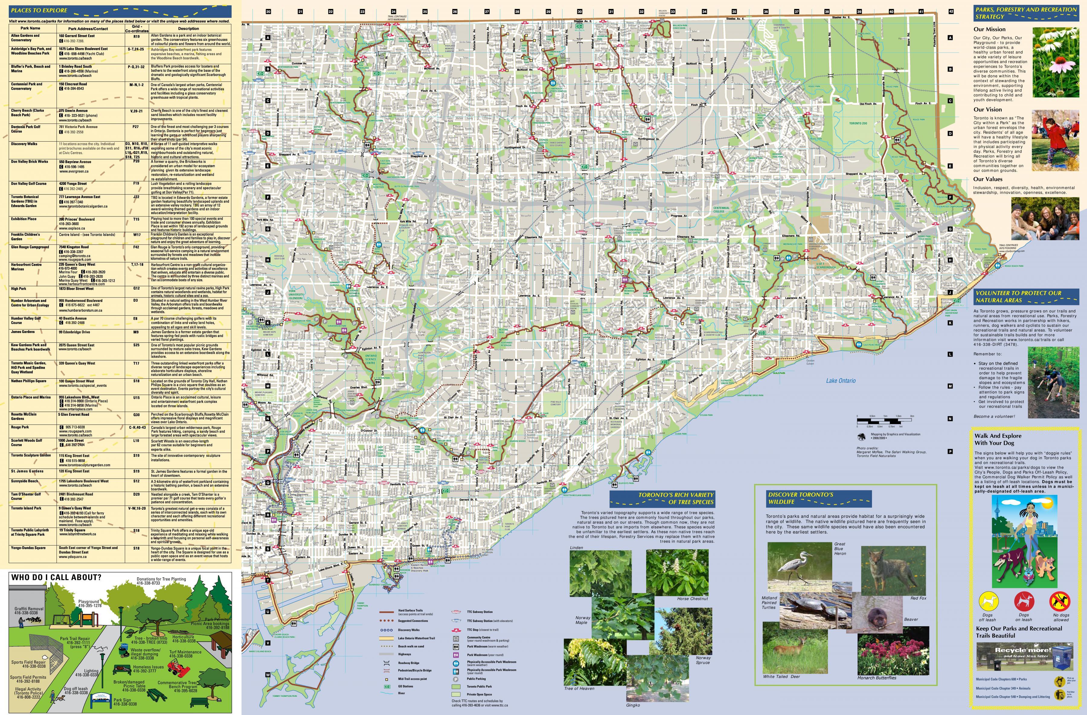 Parker Og Vandreruter East Toronto Kort Kort Over Parker Og
