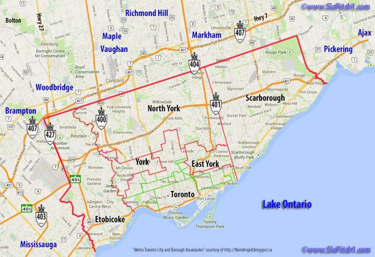 Kommuner Toronto Kort Kort Over De Kommuner Toronto Canada