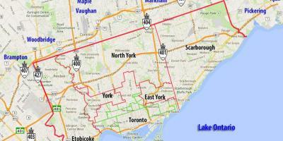 Toronto Kommune Kort Alle Toronto Kommuner Maps